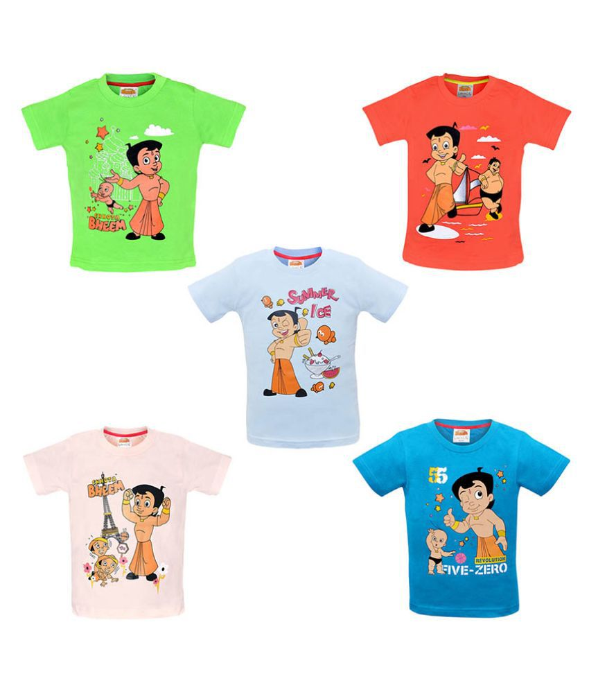Chhota Bheem Multicolour Cotton T-Shirt - Pack of 5