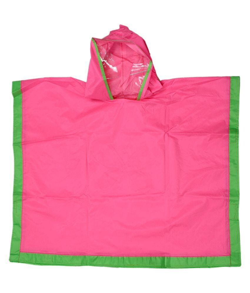 Colors N Bags Pink and Green  Viscose Raincoat with Bag