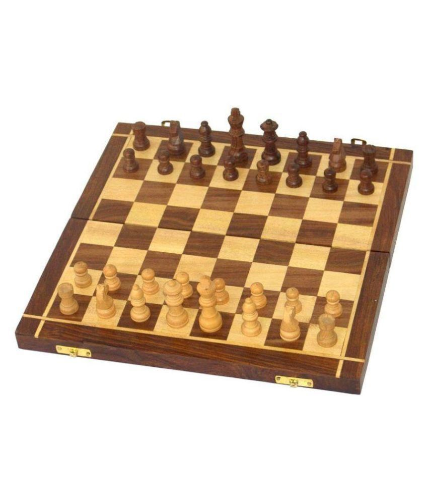 Craftatoz Brown Wooden Chess Board Set