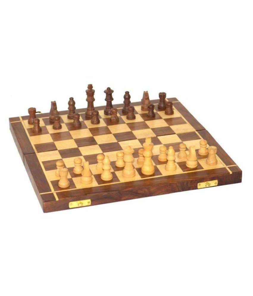 Craftatoz Brown and Yellow Wooden Chess Board