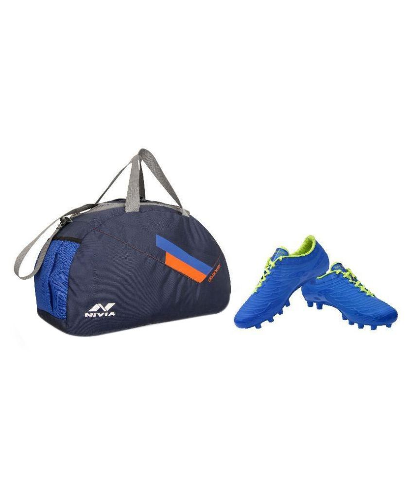 144181561250 Nivia Blue Polyester Duffle Kit Bag with Football Shoes  Buy Online at Best  Price on Snapdeal