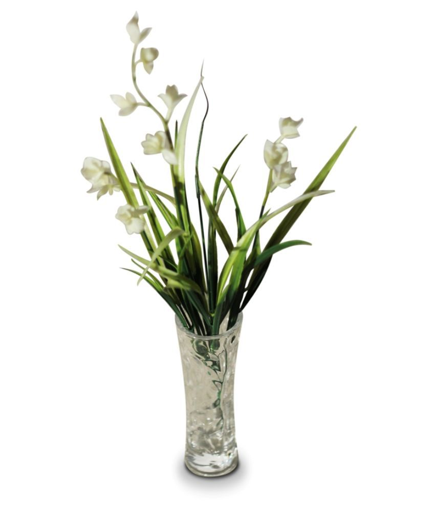 Orchard glass flower vase with a bunch of white water iris flowers izmirmasajfo