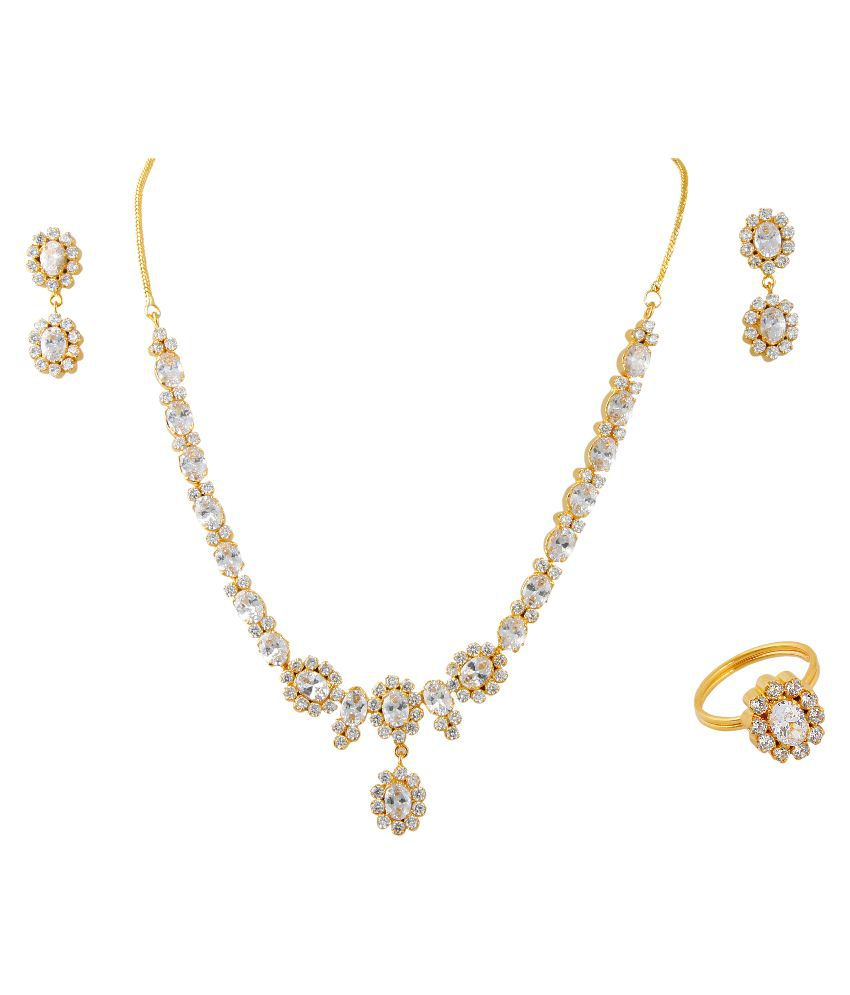 Vinayak Alloy Gold Plating American Diamonds Studded Gold Coloured Necklaces Set