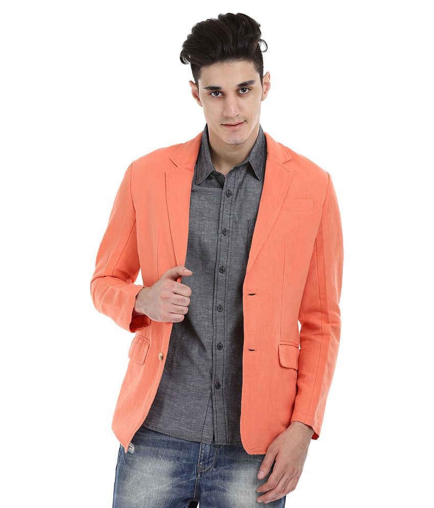 Zobello Orange Casual Blazers