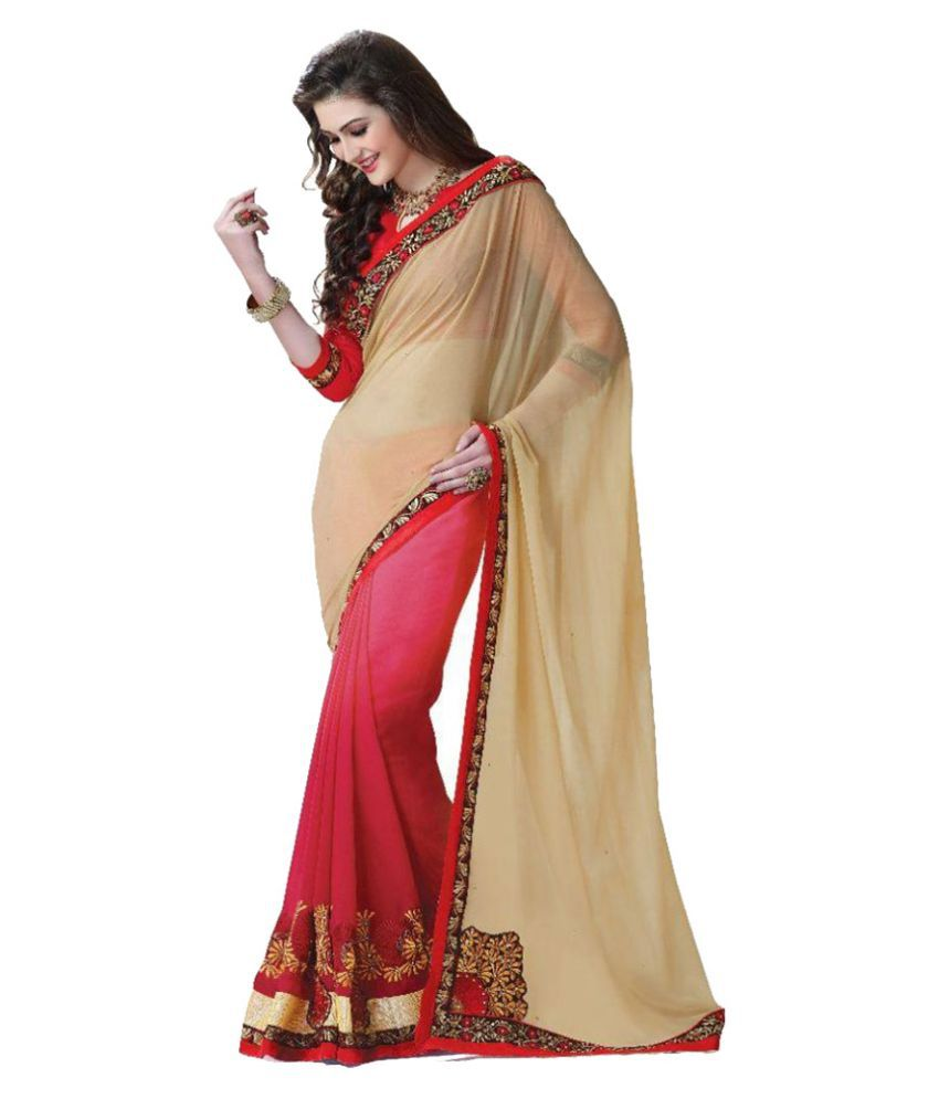 Blissta Beige & Red Georgette Embroidered Half & Half Saree