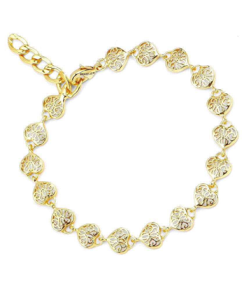Johareez Brass Gold Plating Studded Gold Coloured Bracelet