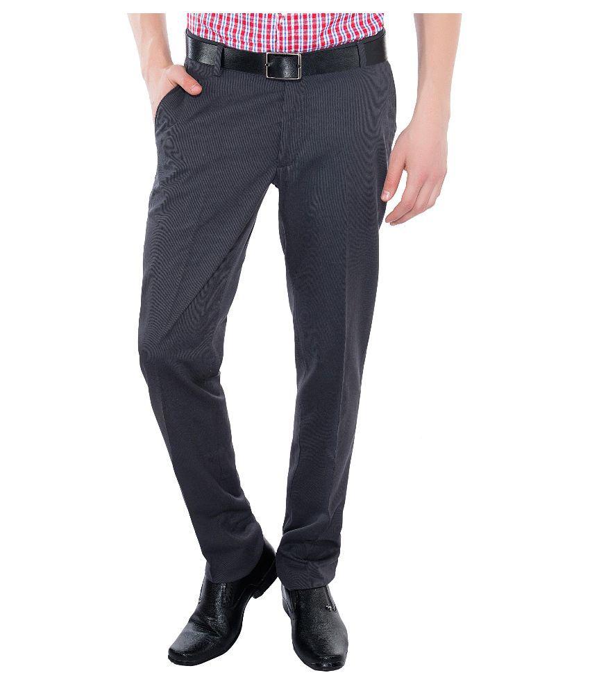 Vimal Grey Slim Fit Flat Trousers