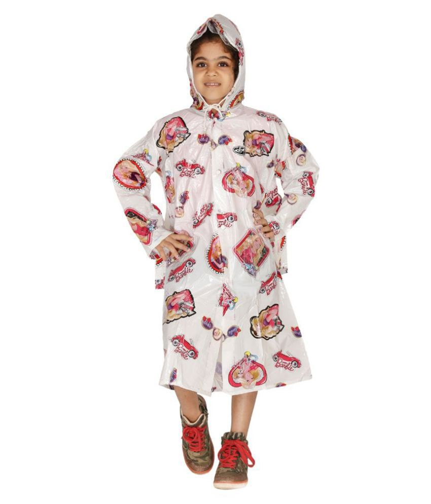 Zeel White Viscose Rainwear for Girls