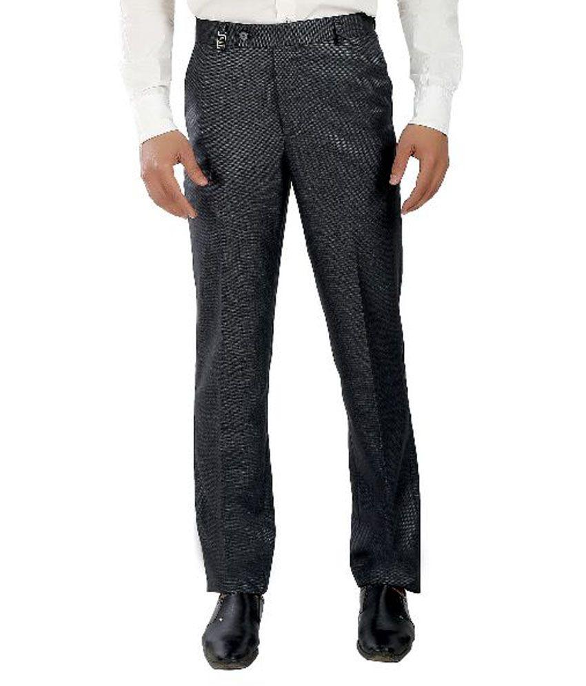 Ethenic World Grey Slim Fit Flat Trousers