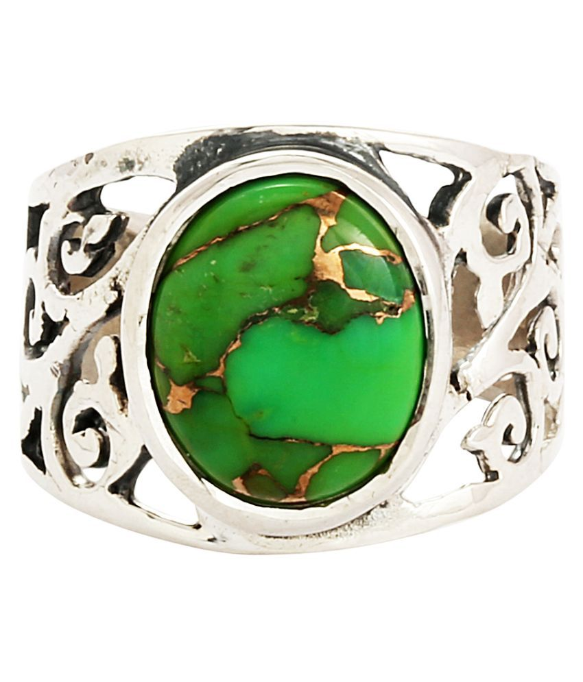 Shine Jewel 92.5 Sterling Silver Green Copper Turquoise Filigree Round Ring