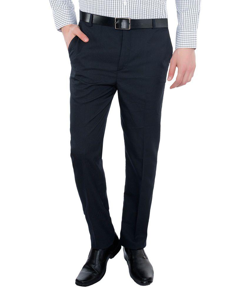 Vimal Navy Slim Fit Flat Trousers