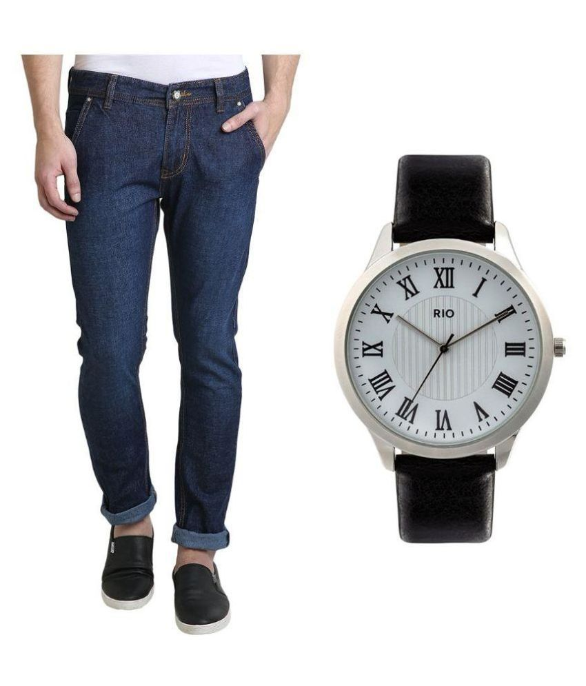 Denim Cafe Blue Slim Fit Solid Jeans With Watch