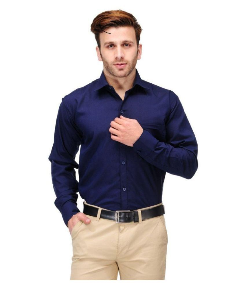 Unique For Men Navy Formal Slim Fit Shirt Buy Unique For