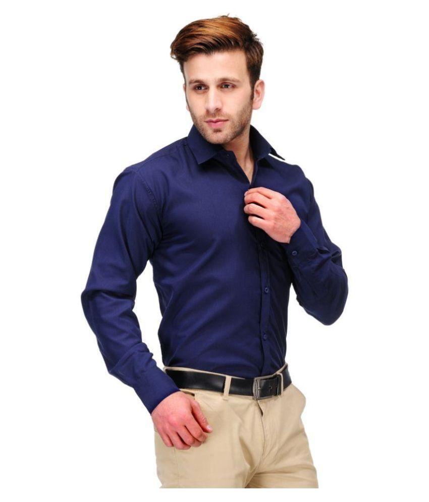 Unique for men Navy Formal Slim Fit Shirt