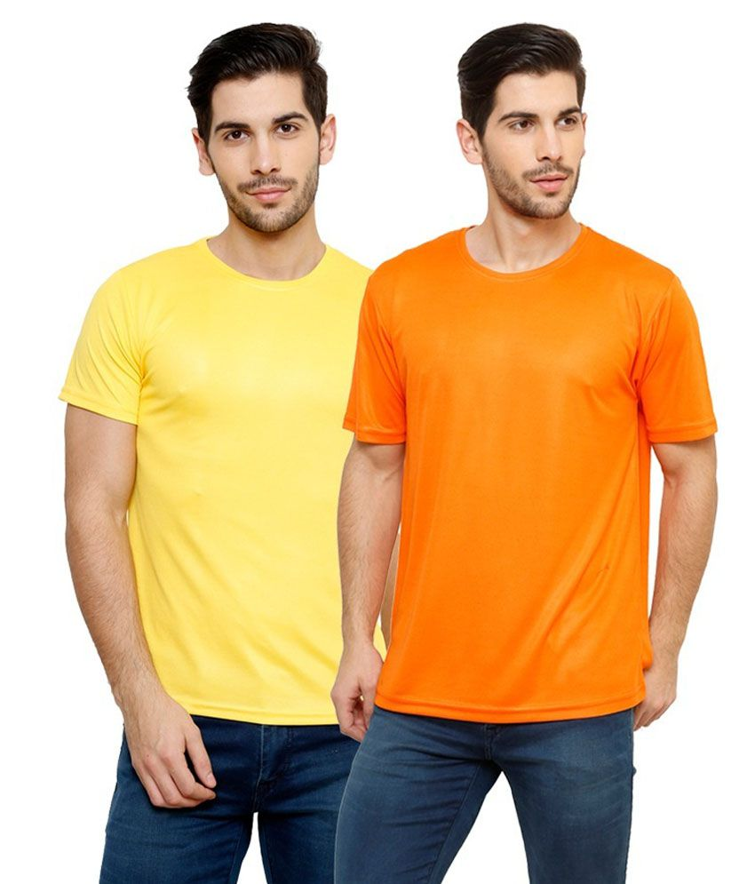 Grand Bear Dry-Fit Fitness T-Shirt Combo - Yellow, Orange