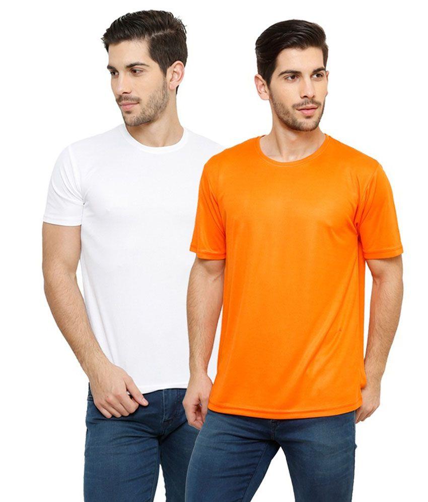 Grand Bear Dry-Fit Fitness T-Shirt Combo - White, Orange