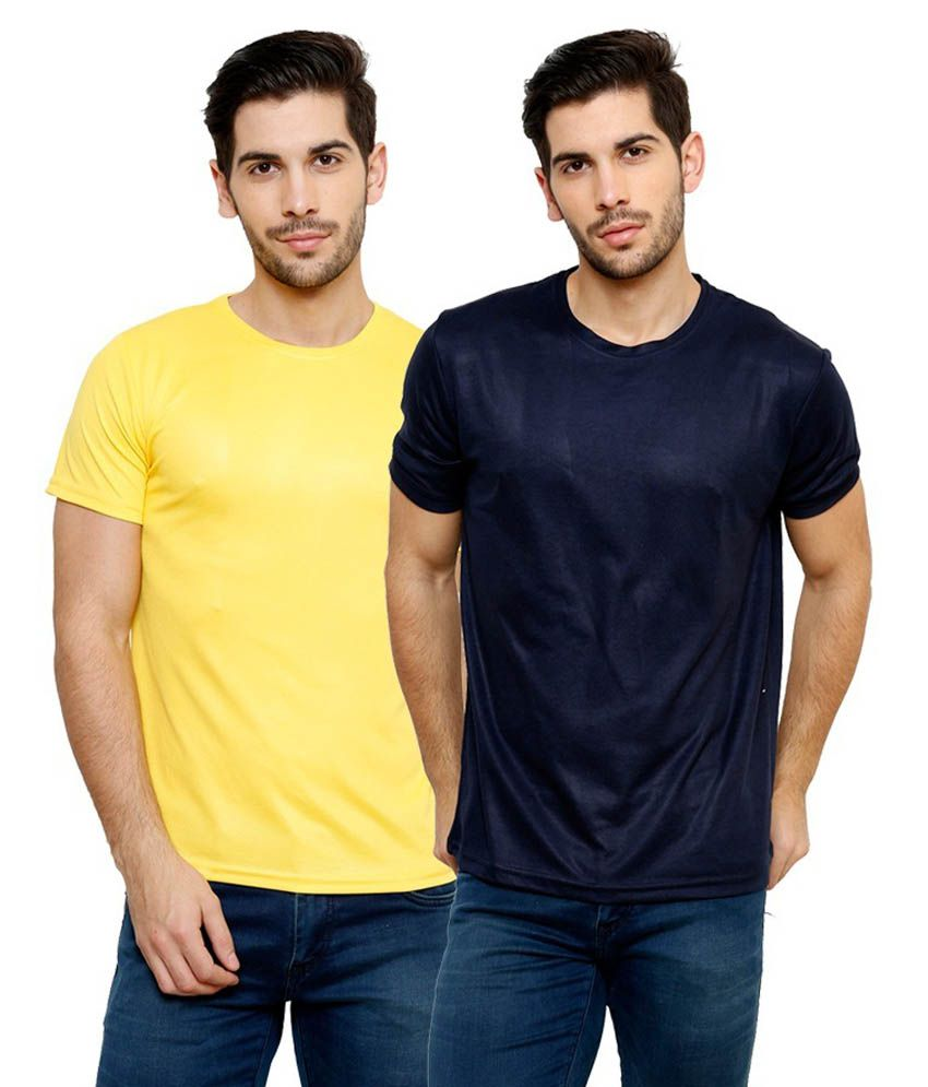 Grand Bear Dry-Fit Fitness T-Shirt Combo - Yellow, Navy Blue