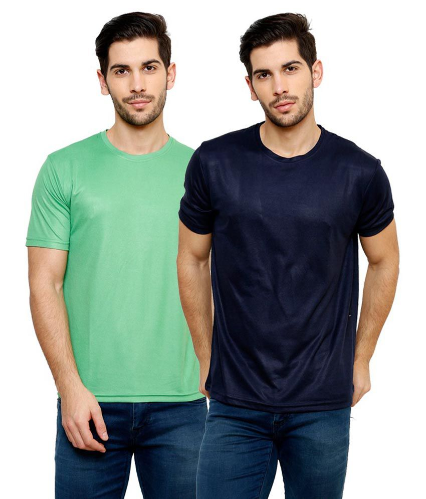 Grand Bear Dry-Fit Fitness T-Shirt Combo - Green, Navy Blue