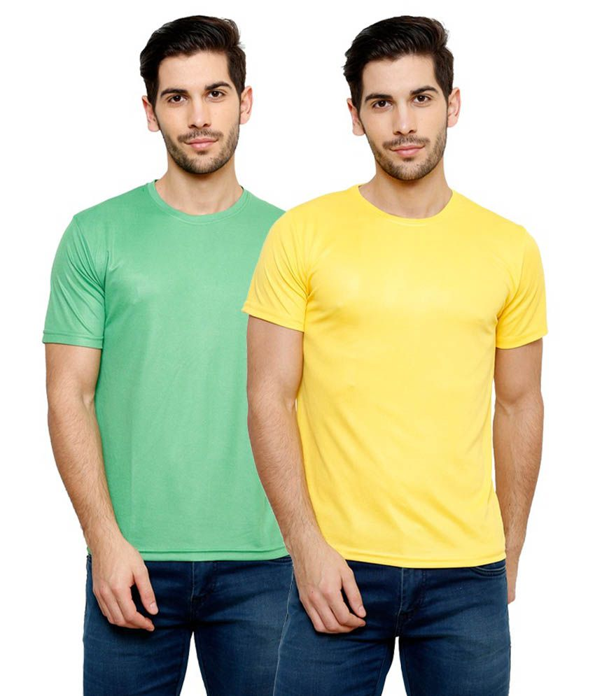 Grand Bear Dry-Fit Fitness T-Shirt Combo - Green, Yellow