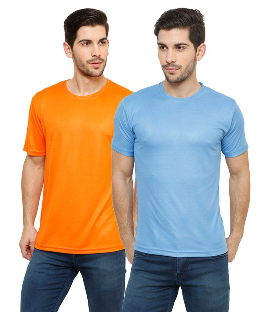 Grand Bear Dry-Fit Fitness T-Shirt Combo - Orange, Sky