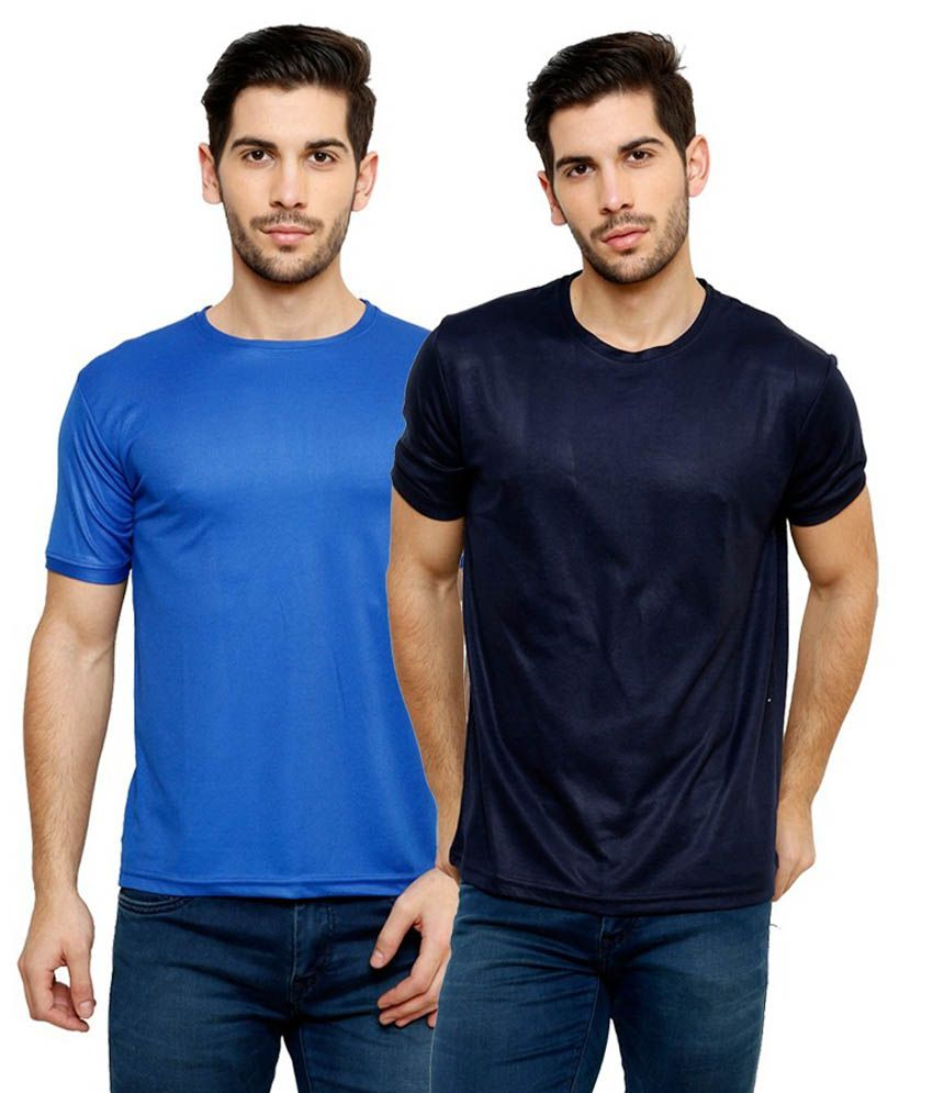 Grand Bear Dry-Fit Fitness T-Shirt Combo - Blue, Navy Blue