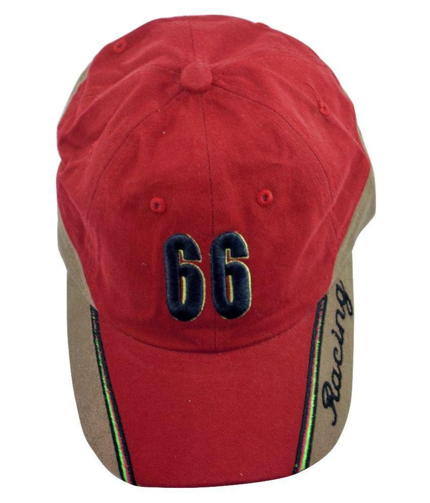 Alpha Man Red Cotton Baseball Cap for Men
