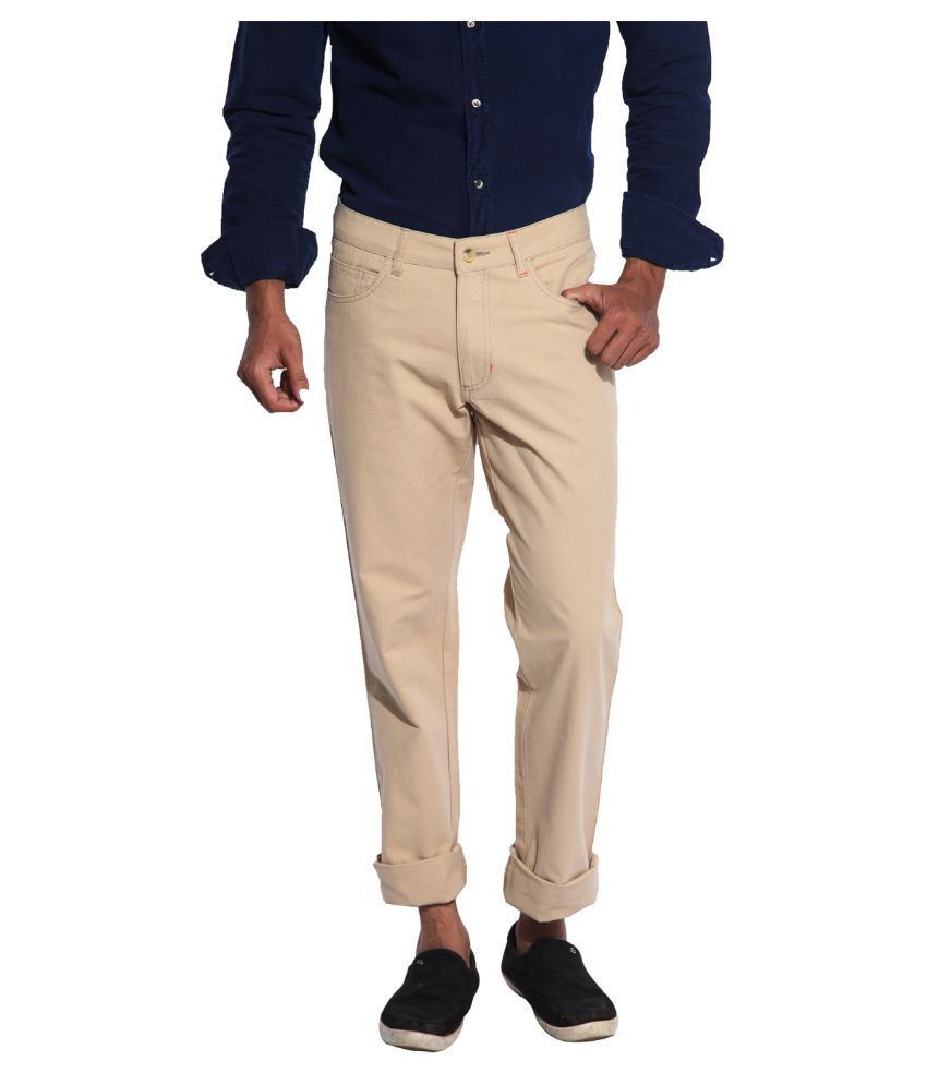 Inego Beige Regular Fit Flat Trousers
