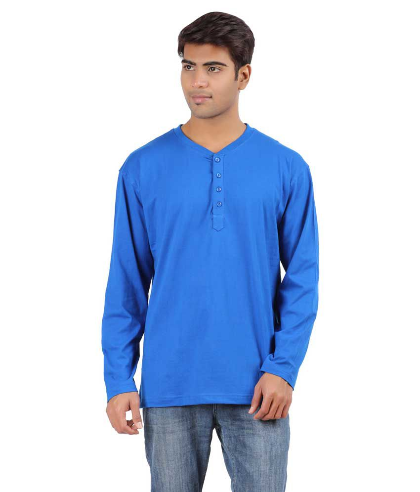 Arowana Blue Henley T Shirt Combo of 2
