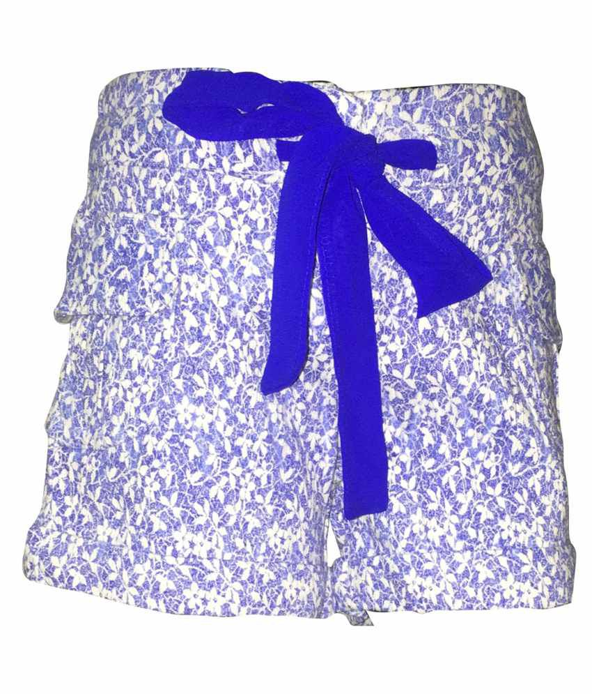 Ever Wear Blue Cotton Spandex Shorts for Girls
