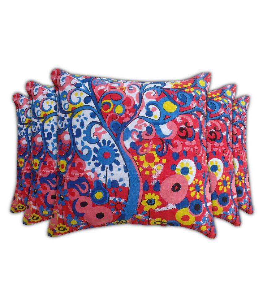 Jaipur Classic Multicolour Printed Cotton Cushion Cover - Set of 5