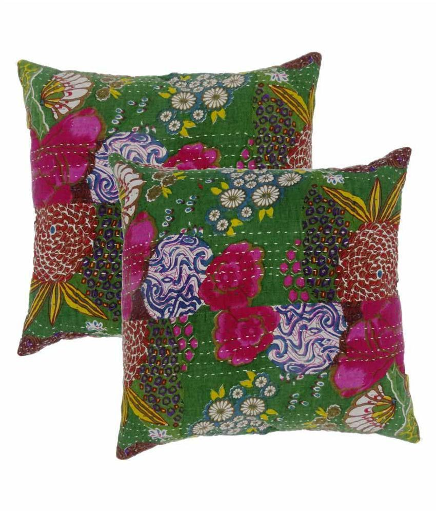 Jaipuri Multicolour Cotton Cushion Cover - Pack of 2