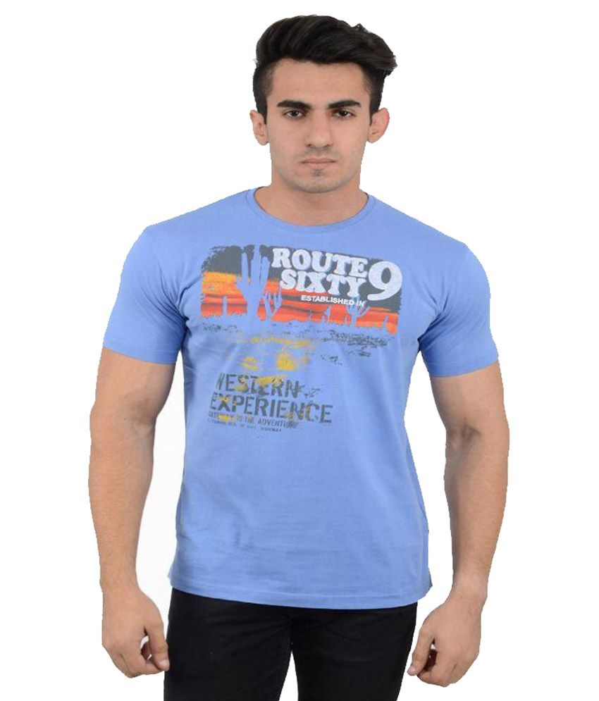 Black Sparrow Blue Round T Shirt