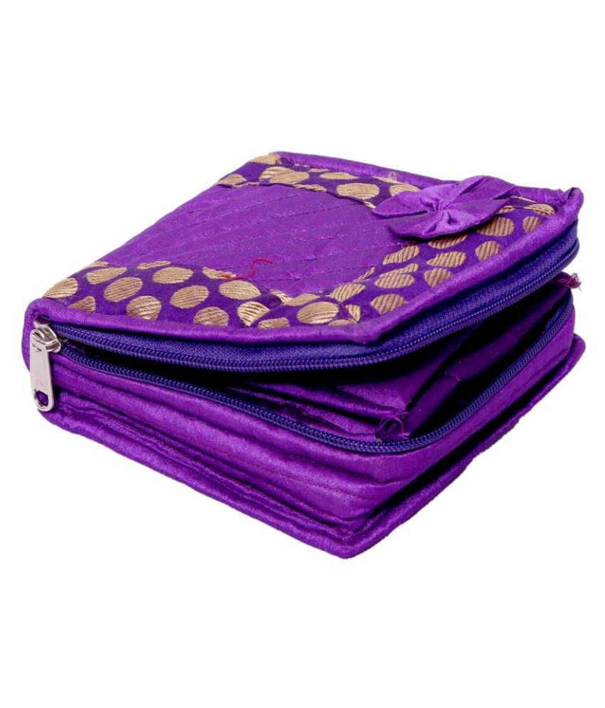 Kuber Industries Purple Fabric Multipurpose Jewellery Box - Set of 2