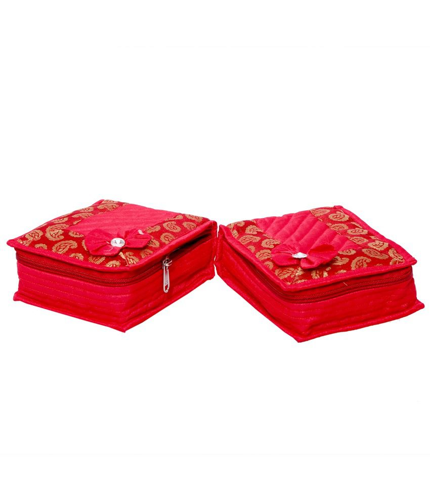 Kuber Industries Red Fabric Multipurpose Jewellery Box - Set of 2