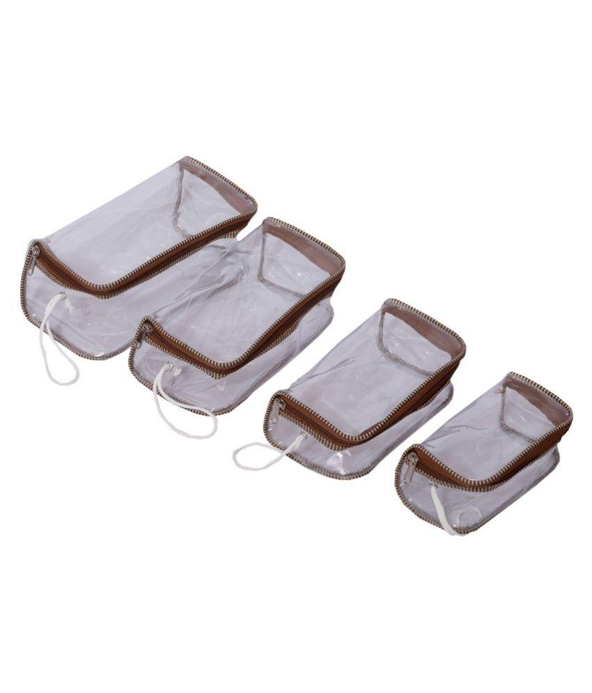 Kuber Industries White Fabric Multipurpose Jewellery Box - Set of 4