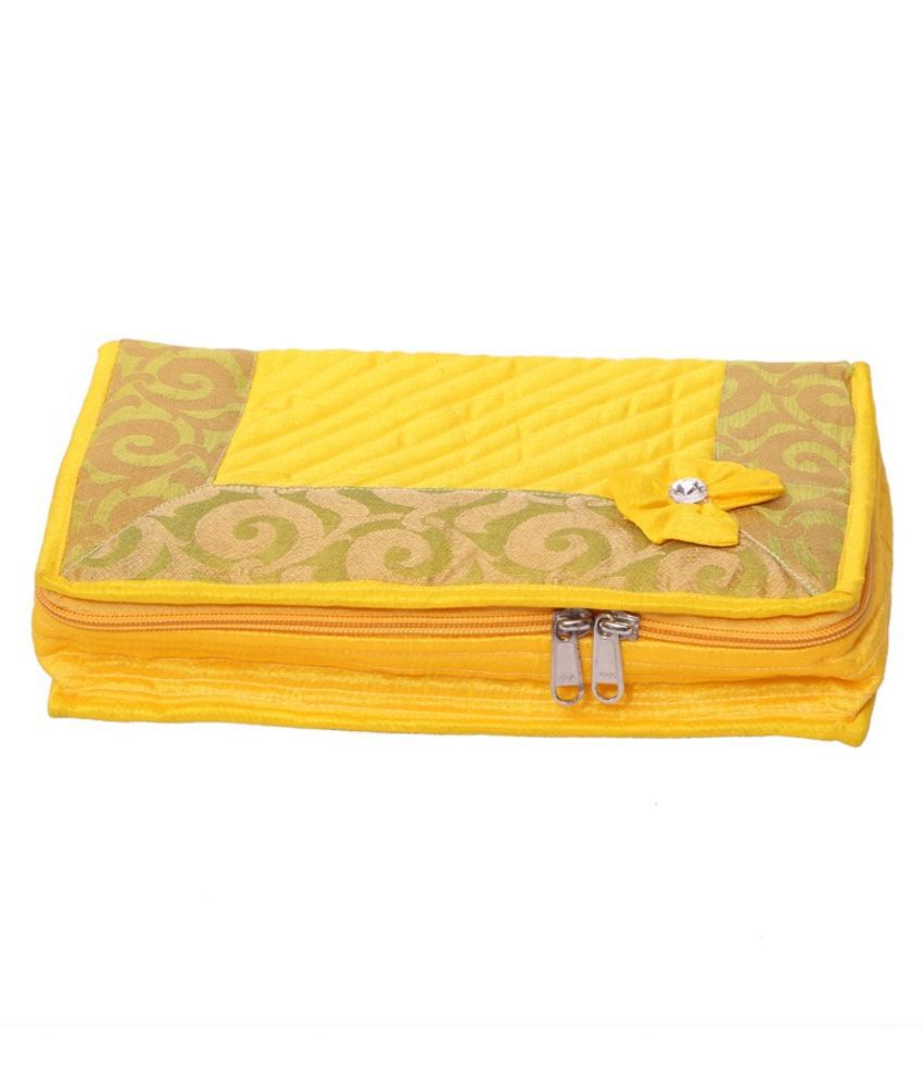 Kuber Industries Yellow Designer Jewellery Kit in Heavy Quilted Material