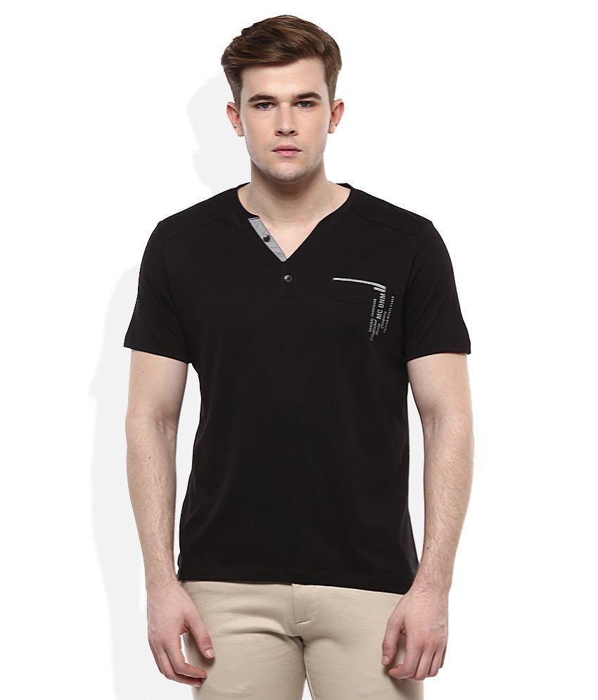 Monte Carlo Black V-Neck Solids T-Shirt