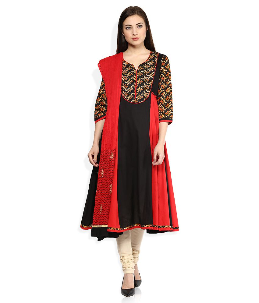 Rain & Rainbow Red Salwar Suit With Dupatta