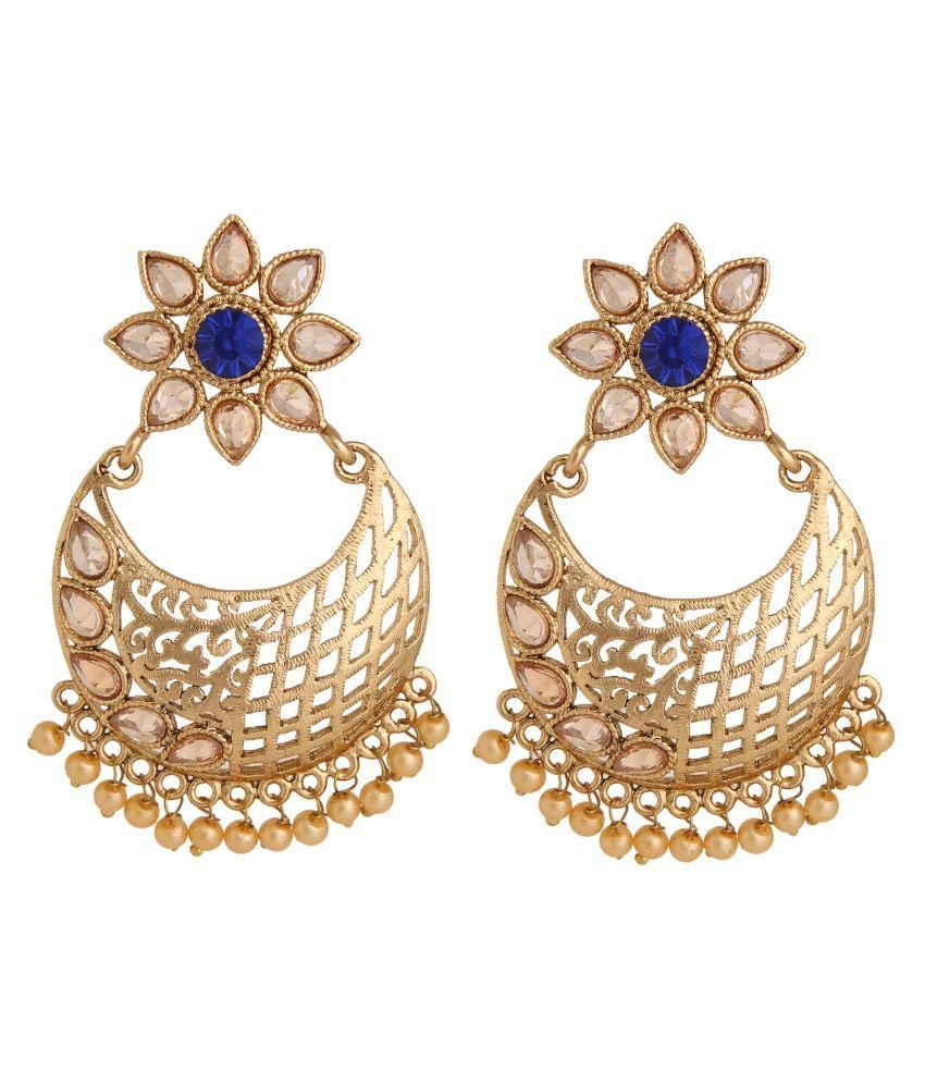 Voril Fashion Alloy Gold Plating Stones Studded Gold Coloured Earrings