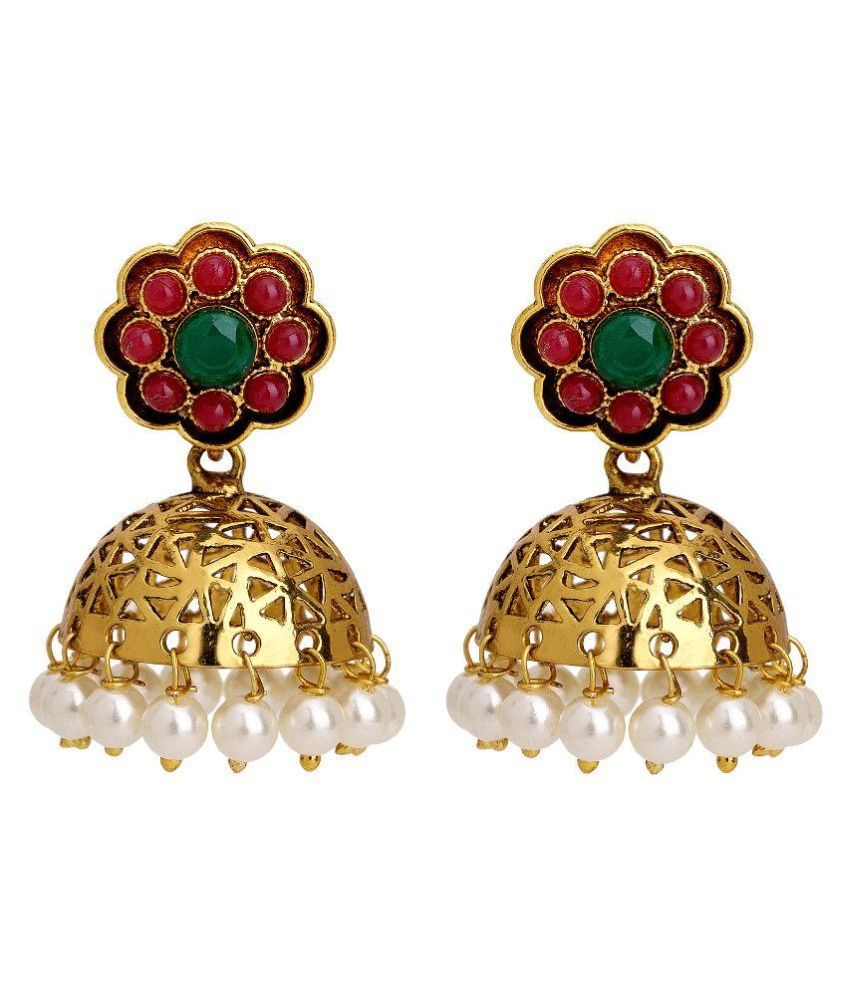 Adwitiya Collection Copper 24 kt Gold Plating Studded Multi Coloured Earrings