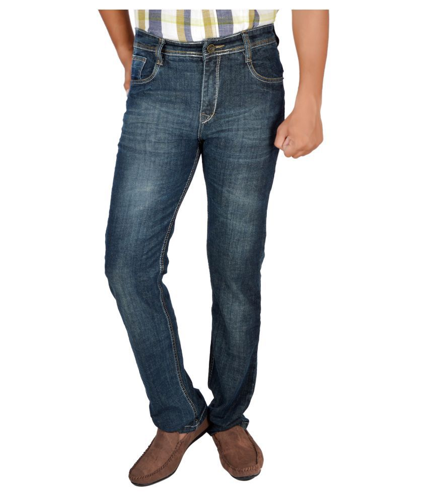 Allen Martin Blue Regular Fit Faded Jeans