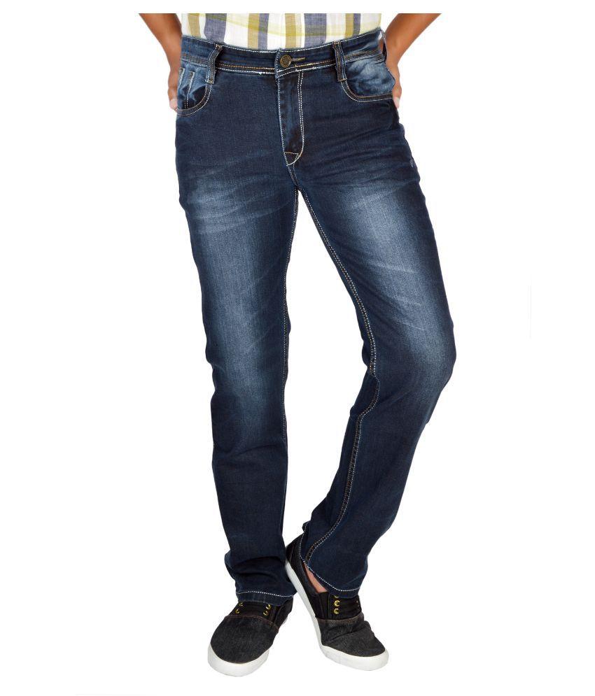 Allen Martin Navy Regular Fit Faded Jeans
