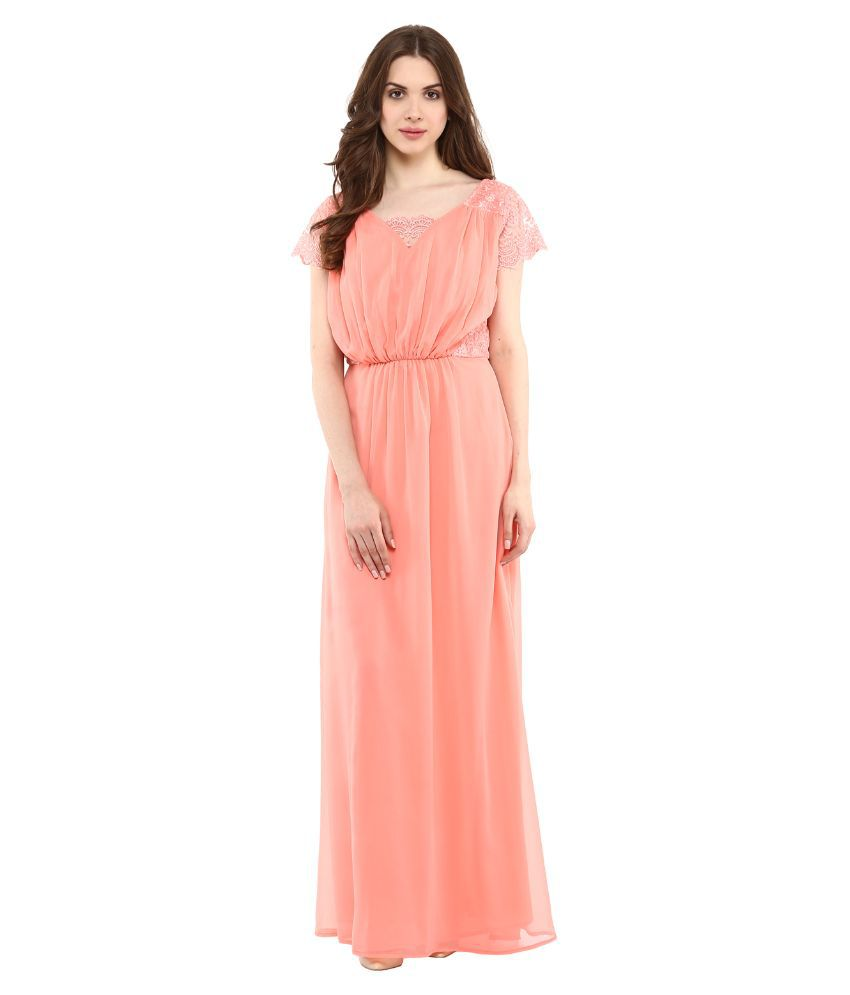 6be9af832 La Zoire Peach Georgette Maxi Dress - Buy La Zoire Peach Georgette Maxi  Dress Online at Best Prices in India on Snapdeal