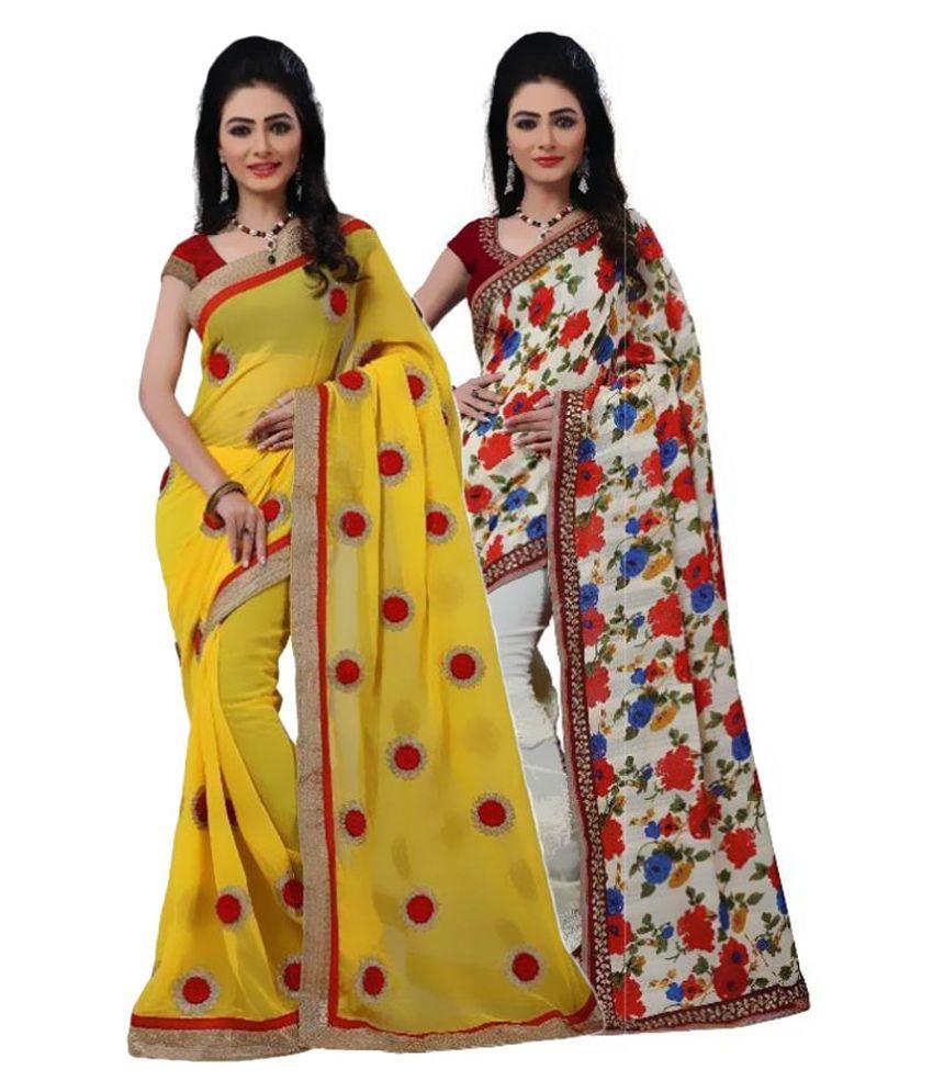 Raahi Fashion Multicoloured Chiffon Saree Combos