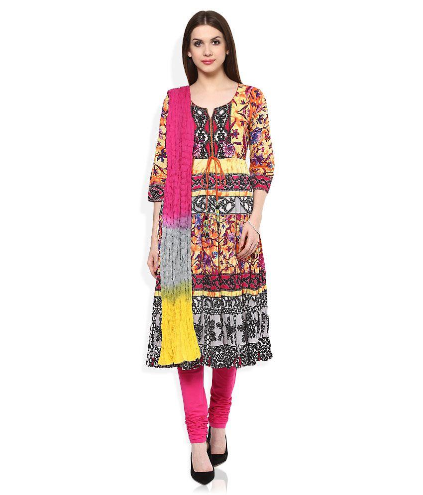 Rain & Rainbow Yellow Cotton Salwar Suit