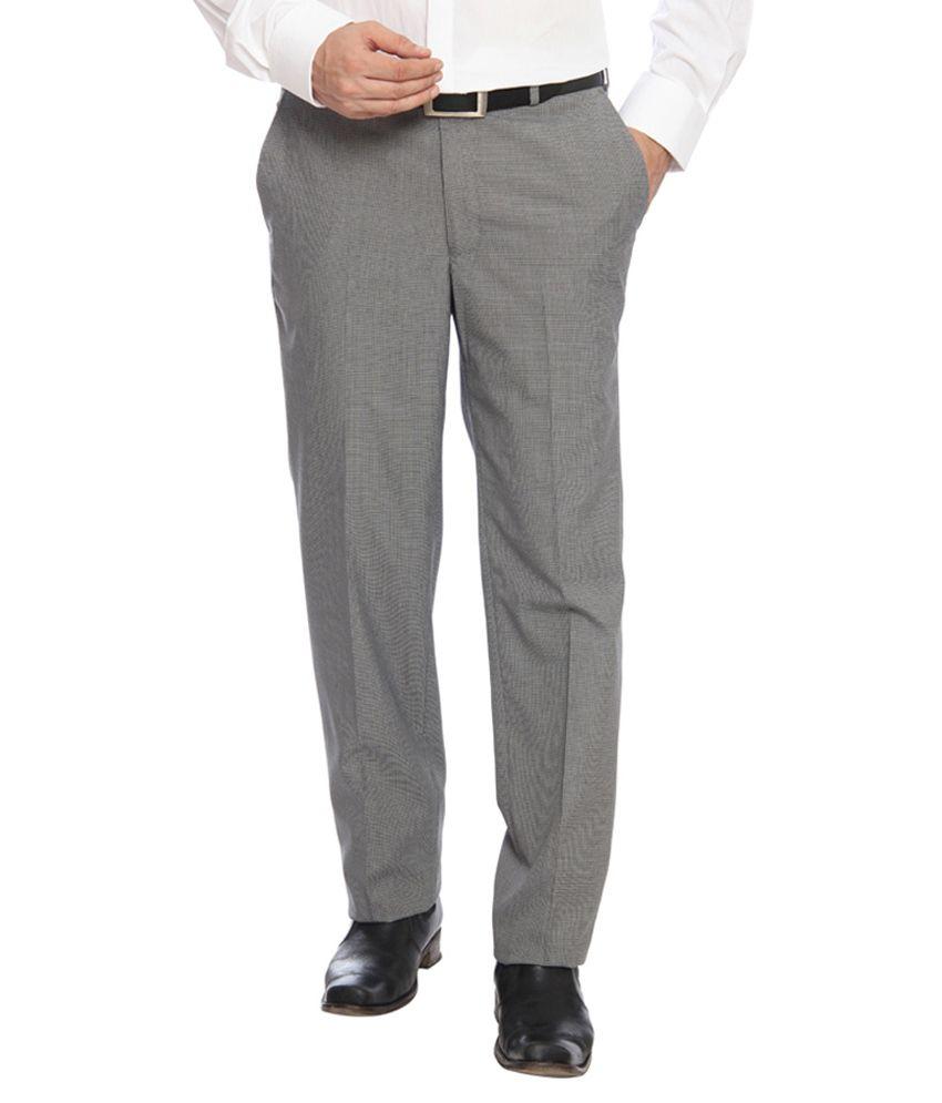 Raymond Grey Slim Fit Flat Trousers