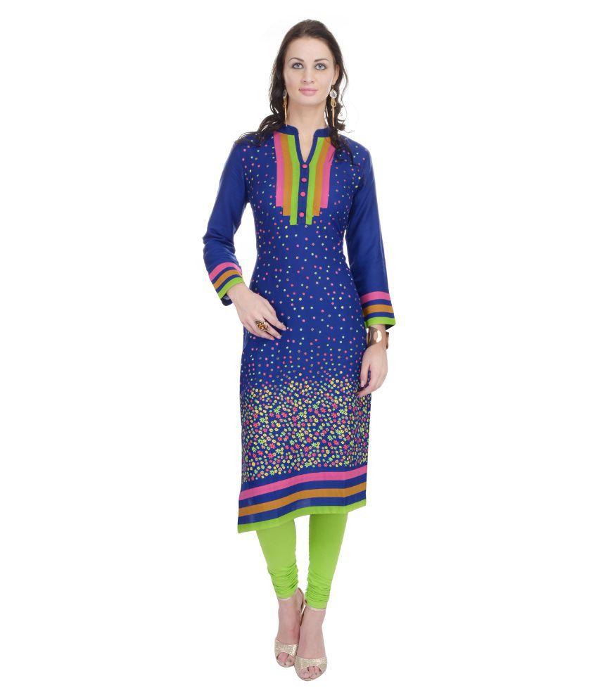 Sparsh Rajasthan Blue Cotton Straight Kurti
