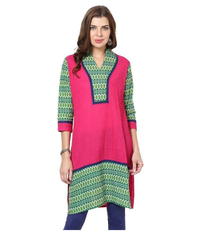 Sringam Pink Cotton Straight Kurti