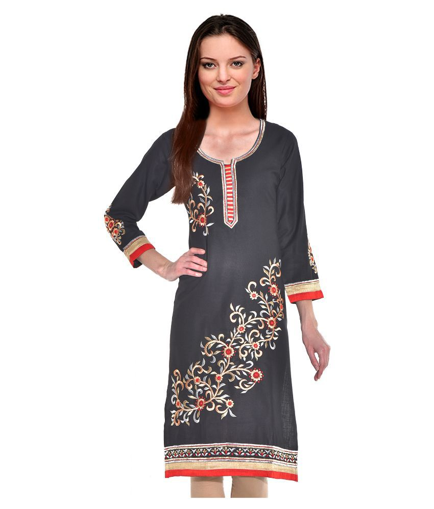 Aadhunik Libaas Grey Cotton Straight Kurti