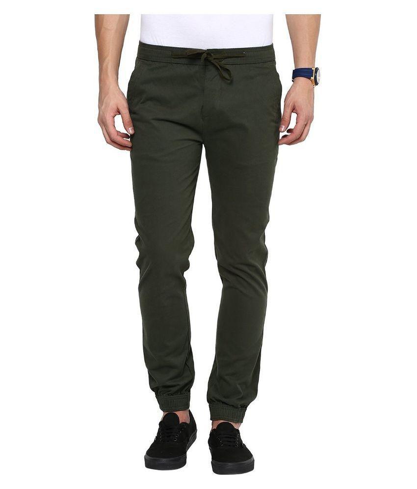 Annai Lakshmi Exports Khaki Slim Fit Jogger Jeans